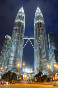 The Petronas Towers at night.